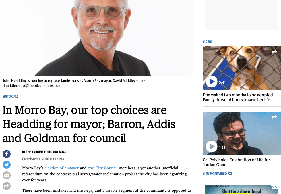 SLO Tribune: In Morro Bay, our top choices are Headding for mayor; Barron, Addis and Goldman for council