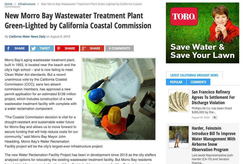 California Water News: New Morro Bay Wastewater Treatment Plant Green-Lighted by California Coastal Commission