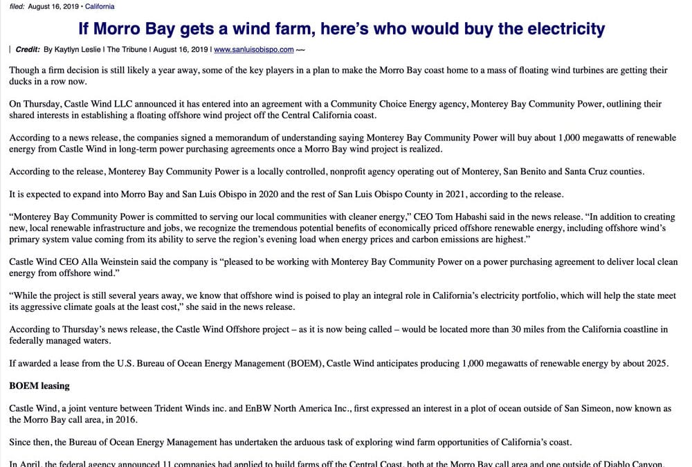 If Morro Bay gets a wind farm, here's who would buy the electricity