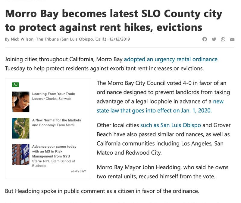 MSN.com/SLO Tribune: Morro Bay becomes latest SLO County city to protect against rent hikes, evictions