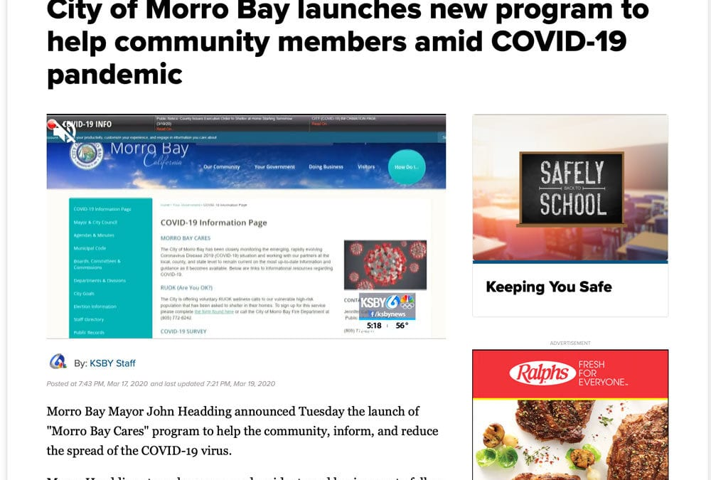 KSBY: City of Morro Bay launches new program to help community members amid COVID-19 pandemic