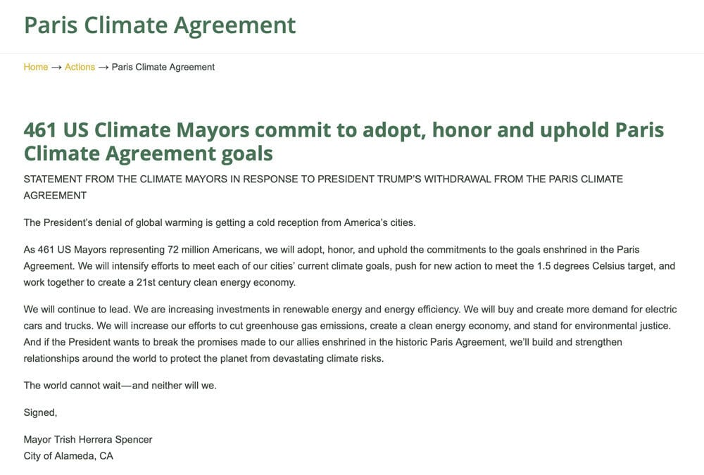 461 US Climate Mayors commit to adopt, honor and uphold Paris Climate Agreement goals